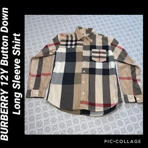 BURBERRY 12Y Button Down Long Sleeve Shirt
